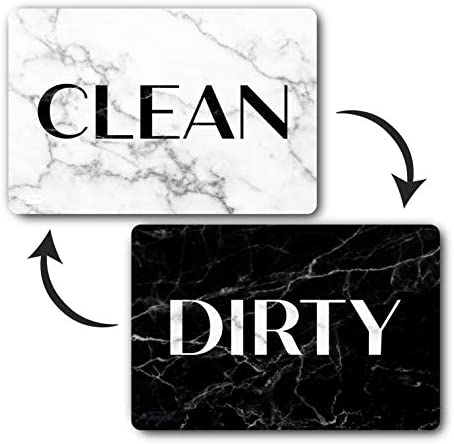 Black and White Granite Dishwasher Magnet Clean Dirty Reversible Dish Washer Sign Double Sided product image