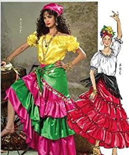 Butterick P225 or 4889 Costume Pattern Gypsy, Spanish Dancer Misses Size L - XL (16 to 22)
