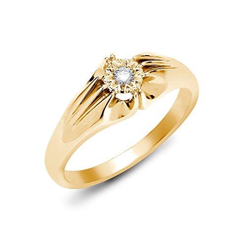 Jewelco Europa hombres Oro Amarillo 9k 0.1ct Diamante solitario anillo