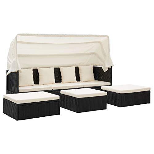 Extaum Gartenbett mit Dach Sonnenbett Lounge-Bett Outdoor-Sofabett Gartenliege Schwarz 200 x 60 x 124 cm Poly Rattan