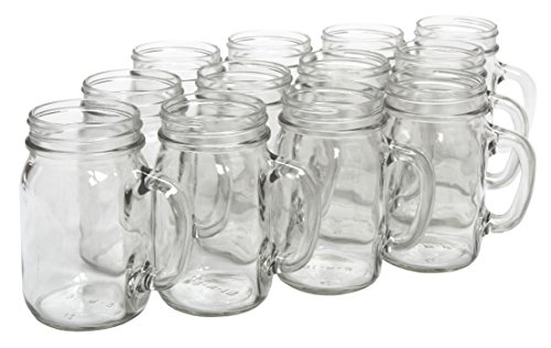 North Mountain Supply Glass Pint Mug Handle Mason Drinking Jars - Case of 12