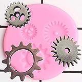 FGHHT Moldes de Silicona de Engranajesmecánicos 3DDIY Cupcake Topper Fondant Herramientas de decoración de Pasteles Caramelo Arcilla Molde de Pasta de Goma de Chocolate