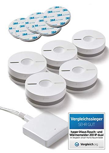 Rauchmelder 5er Set - Funk Vernetzbar + Dual Version + WLAN Gateway + Magnethalterung + Lithium 10...