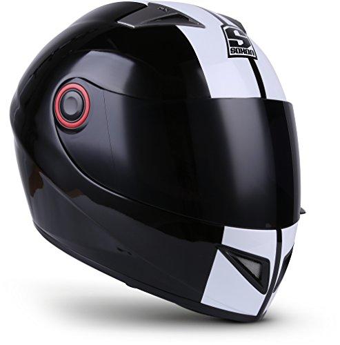 "SOXON® ST-666 ""Deluxe Snow"" · Integral-Helm · Full-Face Motorrad-Helm Roller-Helm Scooter-Helm Cruiser Sturz-Helm StreetFighter-Helm Sport MTB · ECE 22.05 Visier Schnellverschluss Tasche XS (53-54cm)"