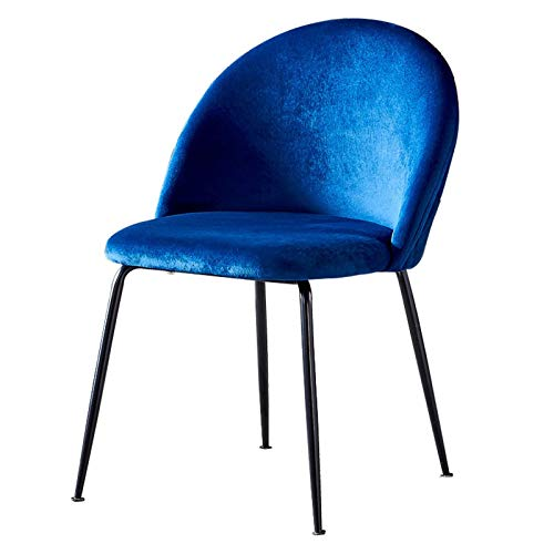 Velvet Dining Chair Fabric Upholstered Seat Ergonomic Design Black Metal Legs Retro Side Chairs Modern Dining Office Lounge Chair (Color : Navy, Size : 1pcs)