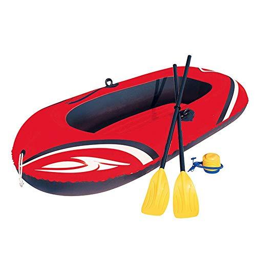 Kayak Hinchable Gruesa Kayak Inflable Barco Hovercraft Rojo con Aluminio de remos y Bomba de Aire Kayak de Pesca recreativa (Color : Rojo, Size : 196x114cm)