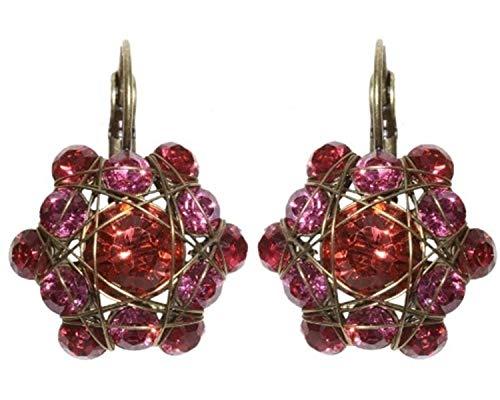 Ohrringe Konplott Bended Lights Koralle-Pink | Ohr-Schmuck mit Glitzer-Steinen | Ohr-Hänger für Damen in verschiedenen Farben | Konplott - Einzigartiger Modeschmuck mit Swarovski Elements