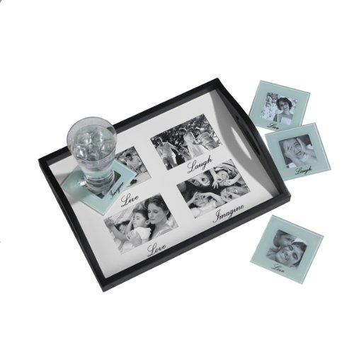 MELANNCO 4 Opening Sentiment Bedtray and Coaster Set