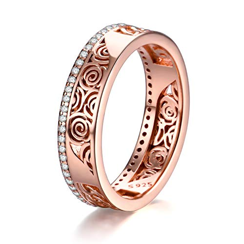 Wedding Bands for Women Fiancée Girlfriend Wife Her Rose Gold Sterling Silver Filigreen Rose Flower Eternity Engagement Ring Jewelry Gifts (Rose gold, 8)