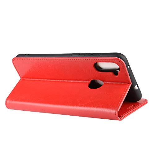 DAMAIJIA Funda Movil para Samsung A11 Carcasa Cuero PU Silicona Magnetic Wallet Protector Teléfono Flip Back Cover For Samsung Galaxy A11 A115F M11 M115F Tapa con Soporte (Red)