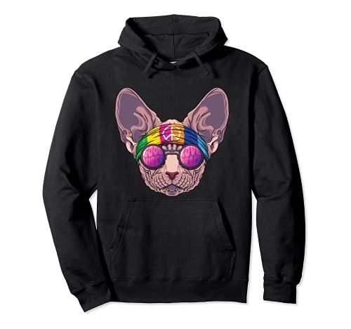 Hippie Sphynx Love Peace Sign 70s Hippie Cat Sudadera con Capucha