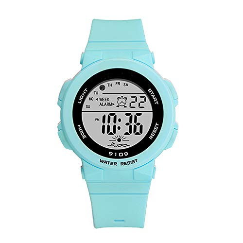 Sports Watch for Women, Women's and Girls' Watch Waterproof Digital Watch with 7 Colors Backlight (Turquoise)