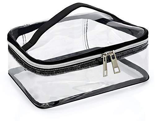 MyGadget Kosmetiktasche Transparent Größe L mit Tragegriff - PVC Tasche Reise Kulturtasche durchsichtig & wasserdicht Schminktasche für Kosmetik, Make-Up