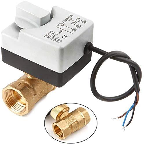 no-branded LPLHJD Válvula AC220v 2 Vía 3 Cables motorizado Válvula de Bola de actuador eléctrico con el Interruptor Manual (Color : Gratis, Specification : DN25)