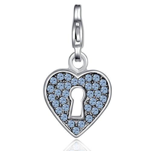 Morella Colgante Charms corazón con bocallave con Piedras de circonita de Color Azul Claro