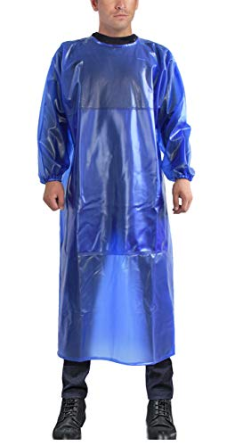 Splash-proof overalls Elastic Cuff Smock Wear-resistant acid and alkali resistant apron Back Tie stone Chemical plant slaughter house (One size, Royal Blue)