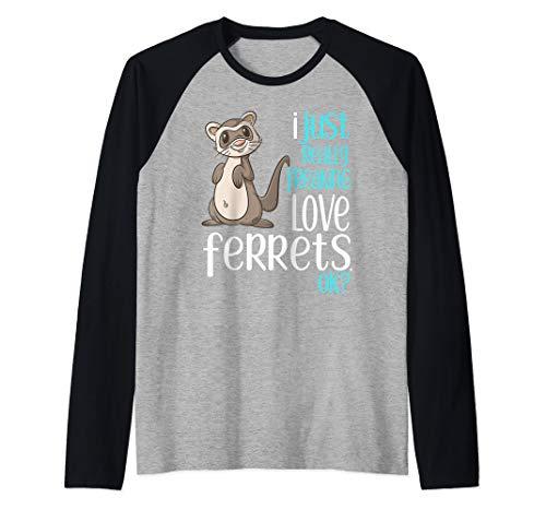 I Just Freaking Love Ferrets Gift Shirt for Kids & Adults Raglan Baseball Tee Ask Seek Knock Mathew 7 T-Shirt| T-Shirt Men Women Comfortable Fit Wearable Anywhere, White and Black in Sizes S-5xl