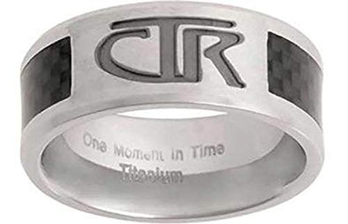 J113 Sizes 11 Titan Titanium With Carbon Fiber Inlay CTR Ring Mormon LDS Unisex One Moment In Time