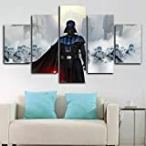 Loveygg Impression sur Toile Intissee 5 Parties Tableau Tableaux Decoration Murale Photo Image Artistique Photographie Graphique,Star Wars Dark Vador Stormtroopers,100x55cm