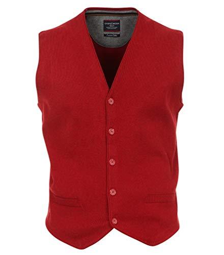 Casa Moda - Herren Strick Anzugsweste aus 100% Baumwolle (472777600A), Größe:L, Farbe:Rot (422)