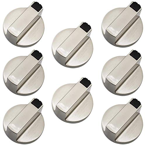 Mandos Cocina Gas Botones Estufas de Gas Perillas Todas Perillas de Control Universales Interruptor Perillas de Cocina Adaptadores Plata para Placa de Cocina de Horno a Gas Juego de 8 Piezas