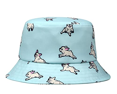 Hatphile Mens Womens Trends Fashion Bucket Hat (Large, White Frenchie Blue)