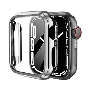 KIMOKU コンパチブル Apple Watch ケース series 6/SE/series 5/series 4 PC 保護カバー アップルウォッチ 44mm 対応 シルバー