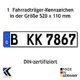 Antmas 1 Fahrradträger Kennzeichen DIN-zertfiziert für Deutschland (520x110 mm)
