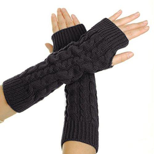 UEETEK Paar Armwärmer Fingerlose Strickhandschuhe (Dunkelgrau)