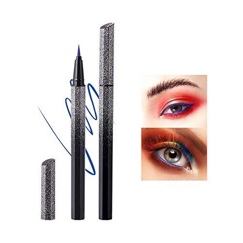 Mimore Color Eyeliner impermeable a prueba de sudor no mancha Delineador de ojos líquido estrellado ultrafino de secado rápido Cosmético Maquillaje libre de crueldad (Blue)