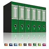 LogicaShop UBOX 6 Raccoglitori ad Anelli A4 Dorso 8 con Custodia Cartone, Formato Commerciale, Registratore con Meccanismo a Leva D, Raccoglitore con Scatola, Faldone Universale (Verde)