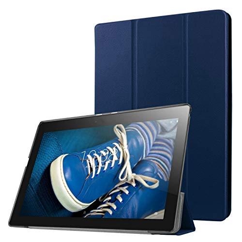 ZHANGYOUDE Funda de Cuero en Color Liso de Flip Horizontal de Textura de Custer con Soportes 3 Plegables para Lenovo Tab 2 A10-30 X30F, 10.1 Pulgadas (Color : Dark Blue)