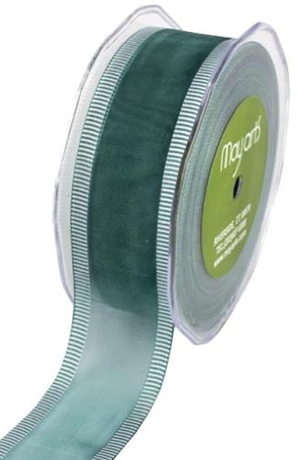 May Arts 1-1/2-Inch Wide Ribbon, Teal Sheer with White Striped Edge