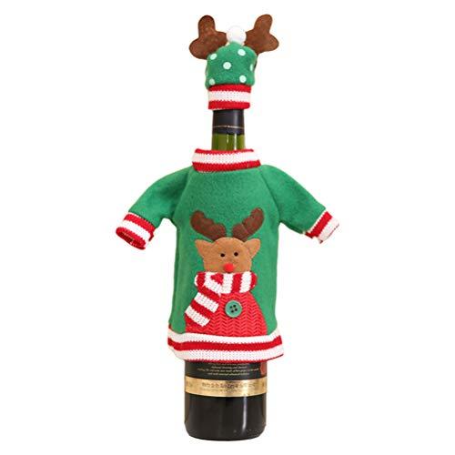 Mekta Pullover Glühwein Flasche Rotwein Abdeckung Flaschenüberzieher,Weihnachten Weinflasche Deckt Urlaub Weinflasche Pullover Abdeckung mit Hut für Party-Dekorationen