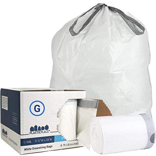 Plasticplace Custom Fit Trash Bags │ simplehuman (x) Code G Compatible (200Count) │ White Drawstring Garbage Liners 8 Gallon/ 30 Liter │ 17.5