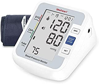Sinocare Blood Pressure Monitor Upper Arm with 2 Users 90 Memory, Automatic Digital BP Machine Heart Rate Pulse Monitor with Voice Function & Large LCD Display Home Use Care Device