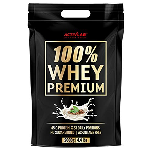 Activlab 100% Whey Premium Package of 1 x 2000g – Whey Protein Concentrate – Protein Powder – No Sugar Added – Aspartame Free – 33 Daily Portions – Protein Supplement (Coffee)