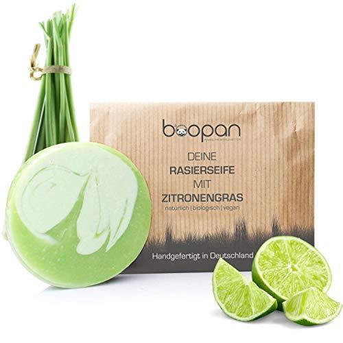 boopan® Rasierseife mit Zitronengras handgefertigt in Deutschland - bio Rasierseife Damen & Herren - vegan, plastikfrei, natürlich - 60g (Zitronengras)