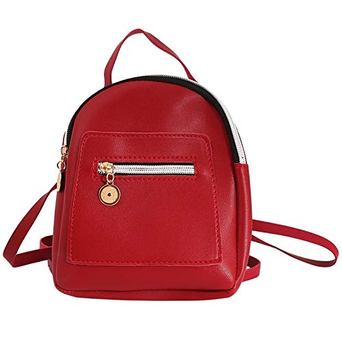 New Designer Fashion Women Backpack Mini Soft Touch Multi-Function Small Backpack Female Ladies Shoulder Bag Girl Purse (Color : 03 Red)