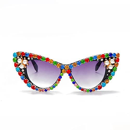 ShSnnwrl Único Gafas de Sol Sunglasses Gafas De Sol con Diamantes De Ojo De Gato para Mujer, Gafas De Sol Steampunk De Gran Tamañ