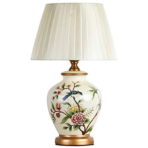 WJLL Retro Tischlampe, Schreibtischlampen aus chinesischer Keramik mit Blumen und Vögeln bemalt, Nachttischlampe für Schlafzimmer zu Hause, Lampe für Wohnzimmerdekoration,Weiß