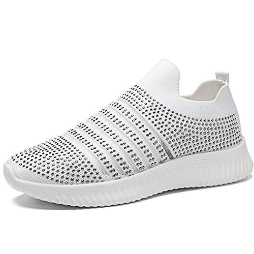 Zapatos Informales para Mujer Suela Suave Transpirable con Purpurina de Malla de Cristal Zapatillas para Mujer Ligeras Antideslizantes Deportivas para Caminar