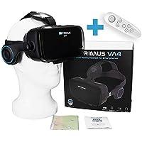VR Primus® VA4, Gafas VR movil con Auriculares y Google Cardboard Apps. Compatible con iPhone X XS y Smartphones Android p.ej. Samsung, Huawei, LG, Sony,Xiaomi,HTC |+ Mando para Smartphones Android