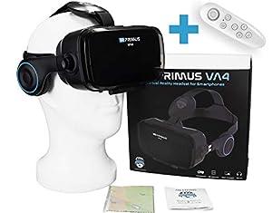 VR-PRIMUS® VA4 - VR Brille für Handys. Kompatibel mit iPhone X XS XR 11 Pro und Android Handys bis 6.2 Zoll z.B. Samsung,Huawei,LG,Sony, Xiaomi, Google Cardboard | + Fernbedienung für Android Handy 's