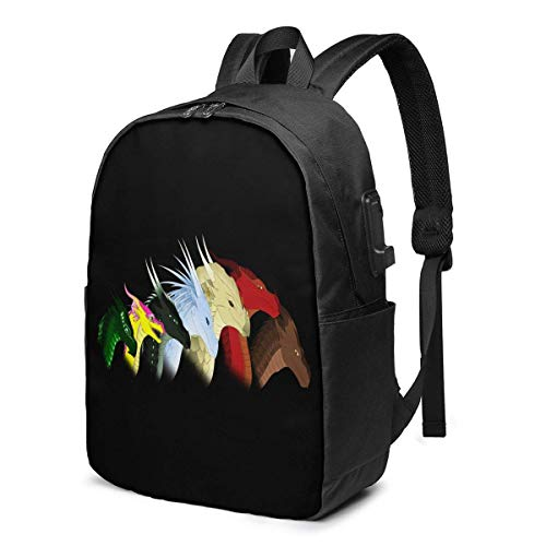 HOIH USB 17inch Backpack Wings of Fire Jade Winglet School Business Durable Laptops Bag Charging Port Gifts Men Women Student