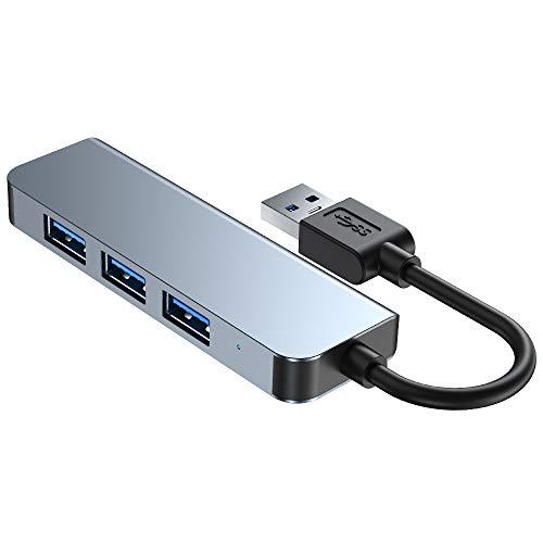 Hub USB 3.0, Gutkam 4 Puertos USB Hub de Datos Ultrafino de 5Gbps con interruptores de alimentación Individuales y Leds para Surface Pro, DELL XPS 15, PC portátil, HDD móvil, Flash Drive