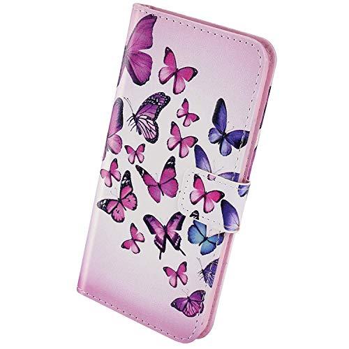 Herbests Kompatibel mit Samsung Galaxy A51 Handyhülle Lederhülle Kunstleder Cover Flip Case Brieftasche Handy Schutzhülle Handytasche Bookstyle mit Magnet Kartenfächer,Schmetterling
