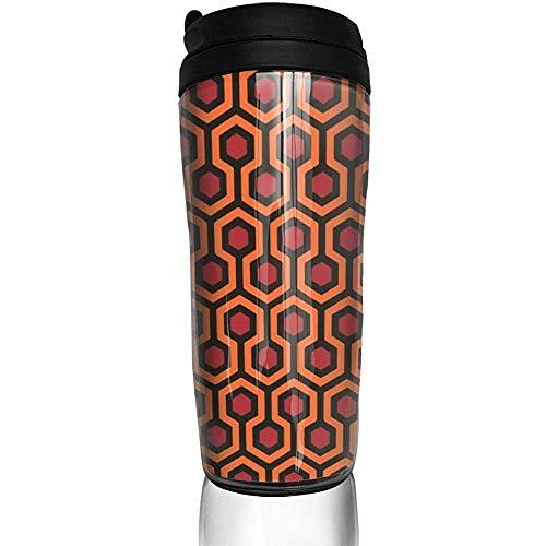 Yuanmeiju Taza de viaje moderna con hexágono geométrico naranja, tazas de viaje, taza de café, vaso reutilizable, taza de viaje al aire libre