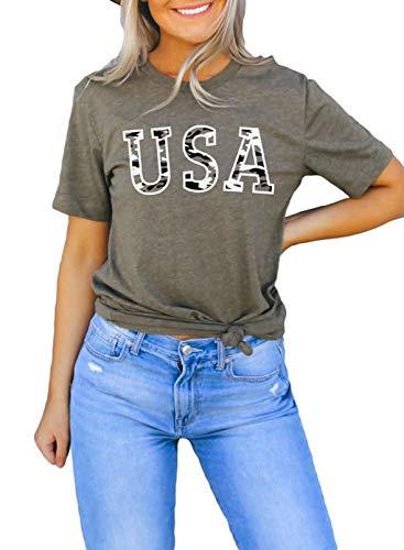 FOBEXISS Camiseta de manga corta para mujer, cuello redondo, diseño de estrella/corazón/Estados Unidos