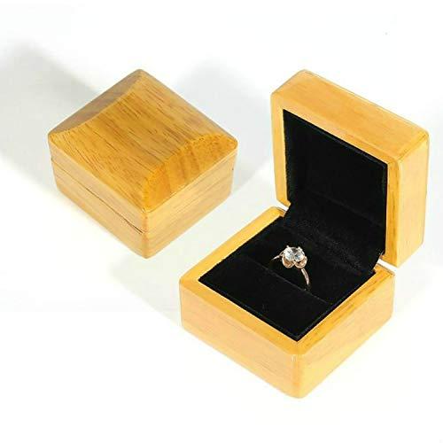 LFSHジュエリーアクセサリー ウッドカラー木製ジュエリーパッキングケースポータブルウェディングリングブレスレットペンダントディスプレイボックスギフトボックス